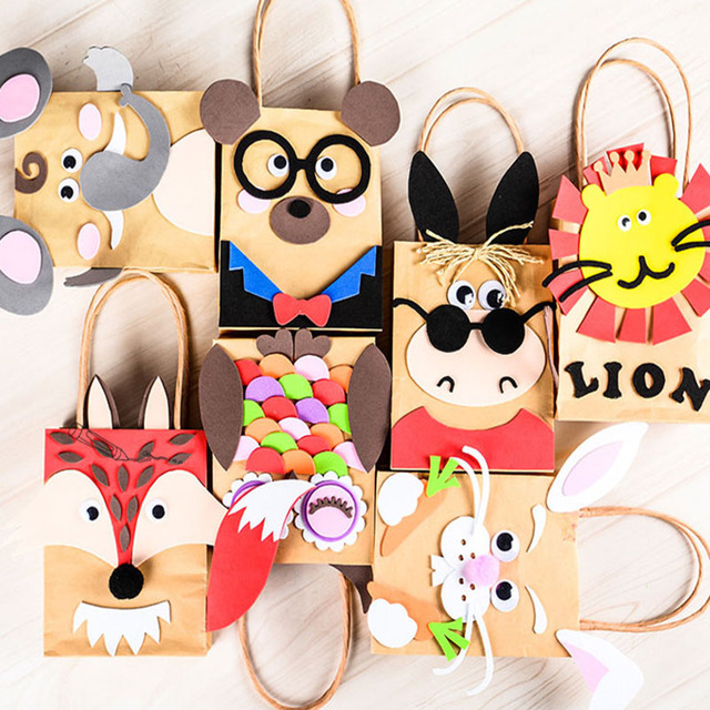 5pcs children DIY handmade paper bag toys/ Kids cartoon animal bag for kindergarden school educational toys, free shipping