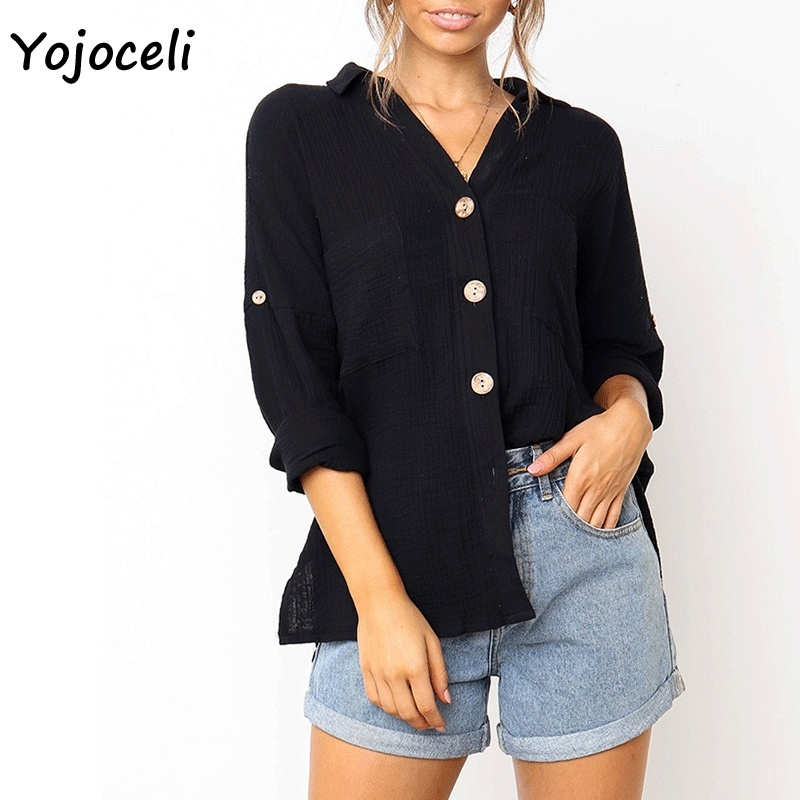 Yojoceli 2019 new spring summer button down shirt blouses women streetwear cotton blouses shirt tops casual female blusas