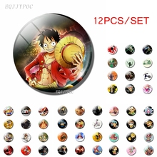 12pcs Japanese Anime One Piece Luffy Roronoa Zoro Sanji Portgas D Ace Figure Fridge Magnet Refrigerator Stickers Cosplay