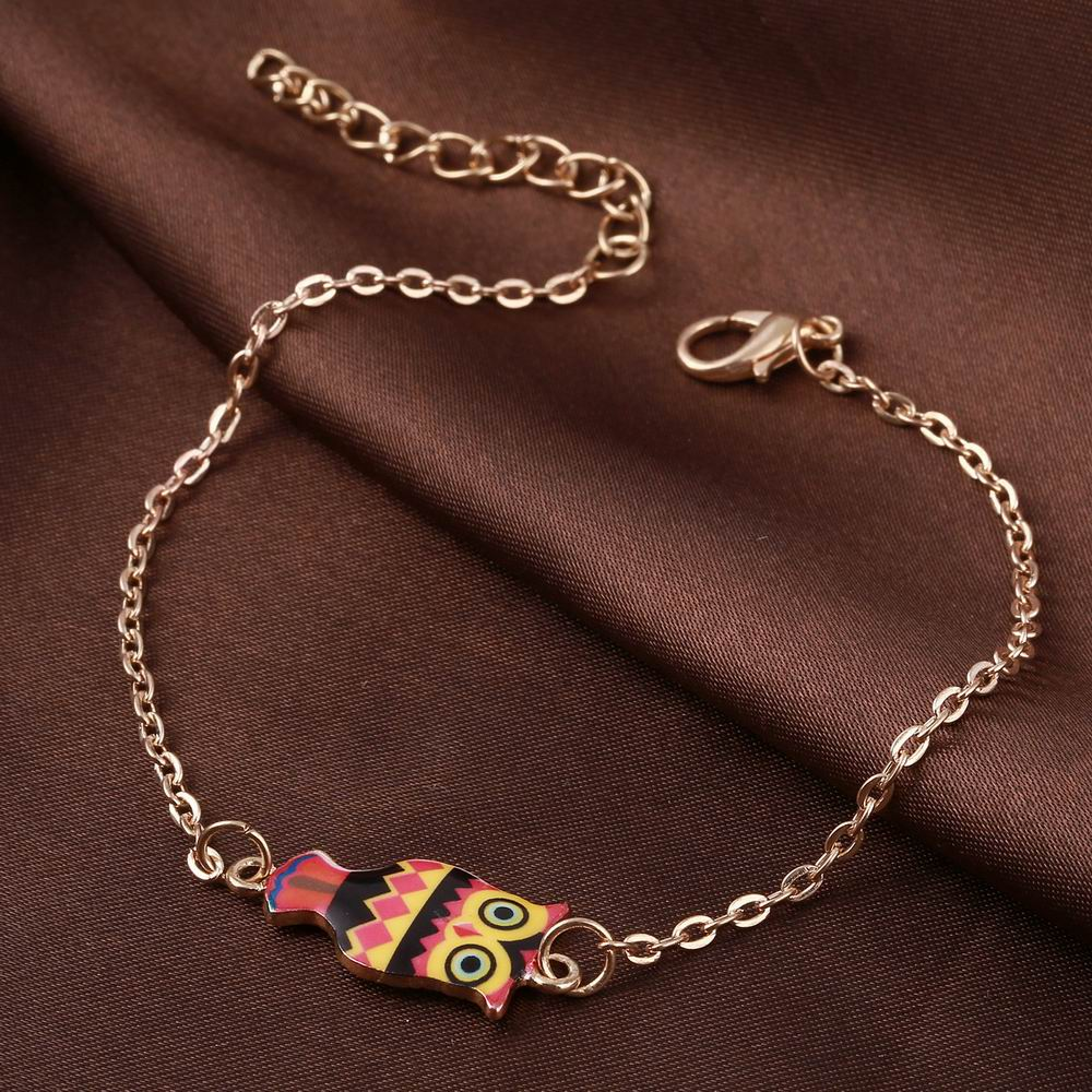 Lot Gold Color Link Chain Drip Oil Owl Charm  Bracelets For Women New Design Animal Decoration Jewelry Bijoux Accessories  From