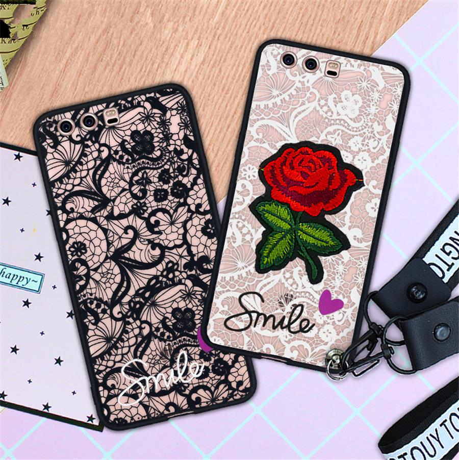 Love heart Lace Flower Hard PC TPU Phone Case For Samsung galaxy S9 Plus S8 Plus S6 S7 Edge J3 J5 J7 2017 A3 A5 A7 A8 Plus 2018 in Fitted Cases from Cellphones Telecommunications
