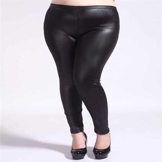 4f2a25ecf31c8 LANGSTAR Plus Size Leather Leggings Pants Sexy Ladies High Waist Stretch  Slim Fashion Wet Look Faux Imitation Leather Pants