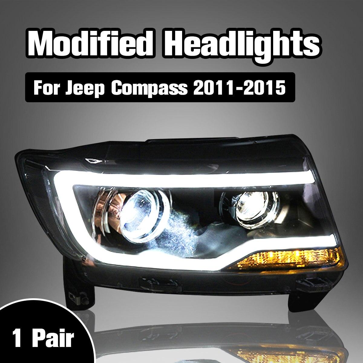 Lampe de tête de style de voiture phare LED H7 D2H Hid Option ange Eye Bi faisceau xénon pour Jeep pour phares compas 2011-2017