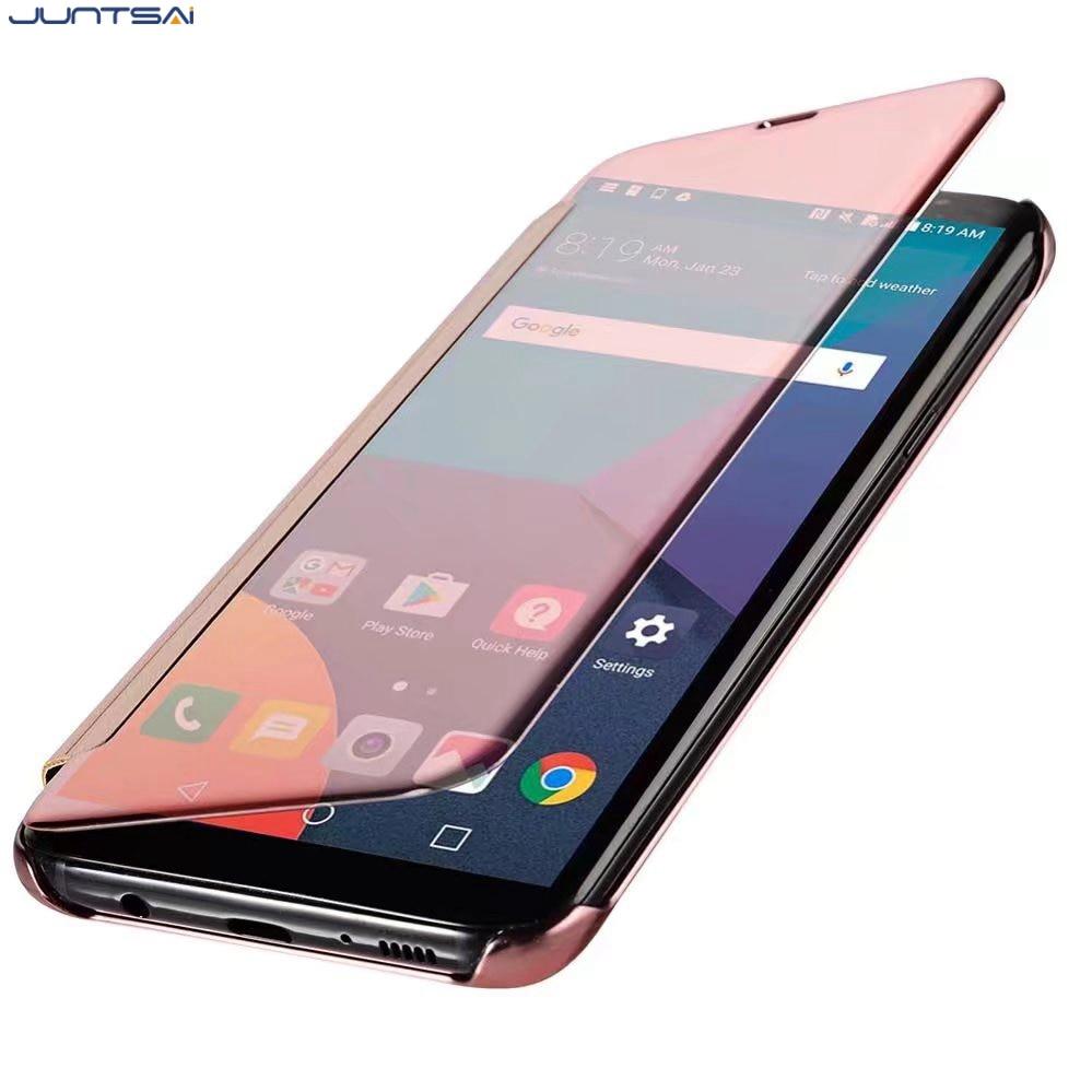 JUNTSAI Clear View Mirror Smart Flip Mobile phone Case For Xiaomi Redmi Note 3 Note 4