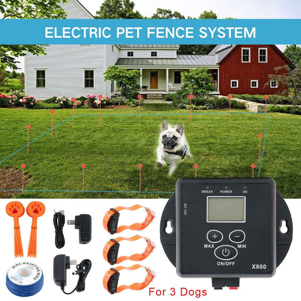 Electric Fence For Dogs Waterproof Rechargeable Dog Training Collars Electronic Shock Collar Pet Fence Containment System