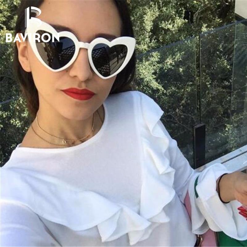BAVIRON Сердце Солнцезащитные очки женские милые Солнцезащитные очки женские брендовые дизайнерские винтажные красочные кошачий глаз солнцезащитные очки женские вечерние Oculos купить на AliExpress