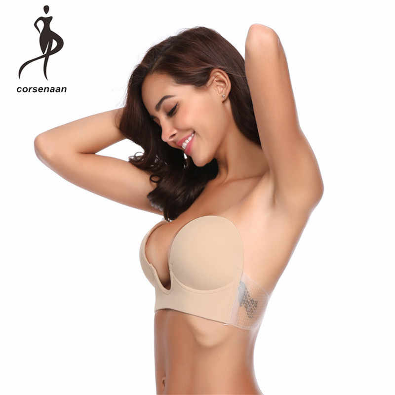c27cc6e2e0 Women Push Up U Shape Bra Side Sticky Self-Adhesive Silicone Strapless  Seamless Invisible Brassiere