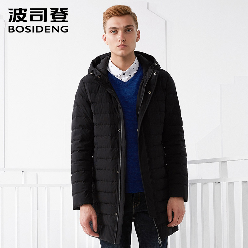 BOSIDENG Men's White Goose Down Jacket Business Fashion Casual Long Down Coat Winter Thickening Warm Parka B70133003