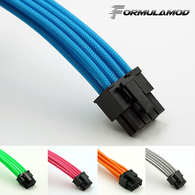 FormulaMod Fm-CPU8P-B, CPU 8Pin Power Extension Cables, Motherboard 18AWG 8Pin Multicolor Matching Extension Cables