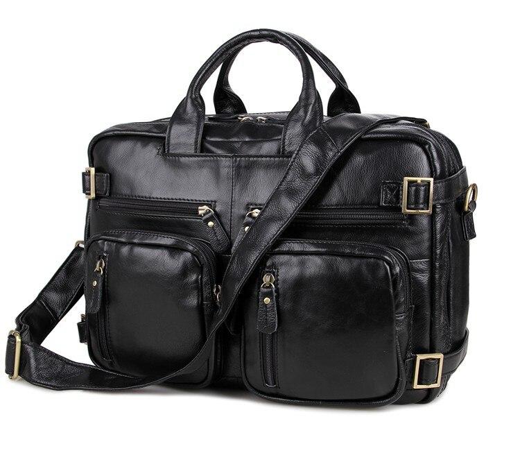 Vintage Black genuine leather bag men messenger bags cowhide portfolio men's briefcase 14 Laptop handbag #MD-J7026 цена