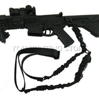 Tactical 2 Dual Point Sling Adjustable Bungee Strap Cord Black