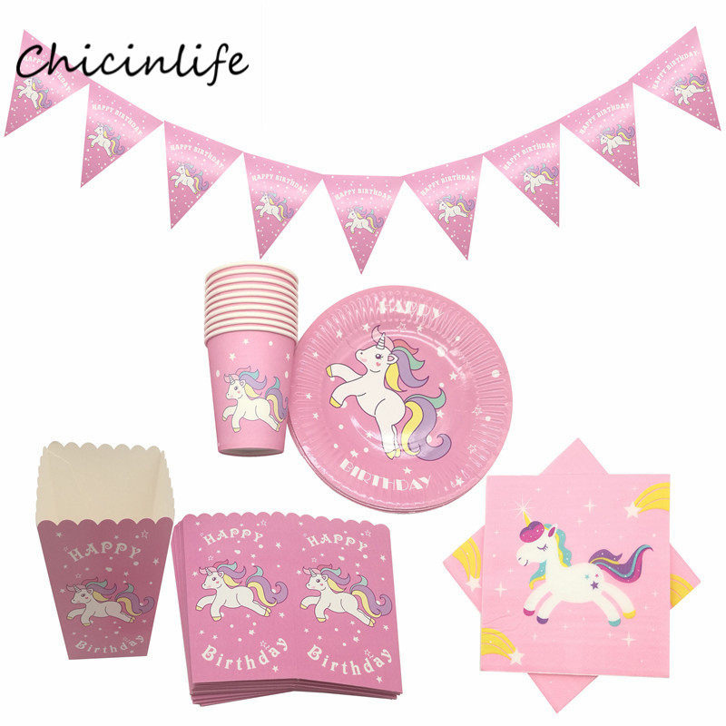 Chicinlife 51pcs/lot Pink Blue Unicorn Party Supplies Paper Napkins Cup Plates Banner Popcorn box Birthday Party Decoration