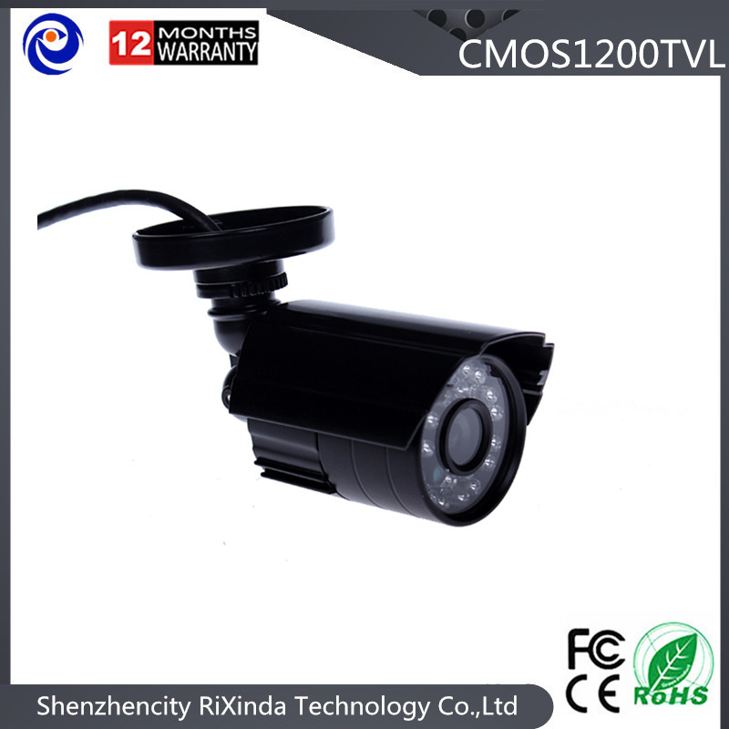 Cheap Anolog Plastic Bullet Security camera HD 1200TVL 24LEDs IR CUT Switch black cctv camera