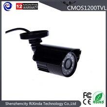 Дешевые Анолог Пластиковые Пули камеры Безопасности HD 1200TVL 24 Светодиодов ИК-Переключатель черный камеры видеонаблюдения