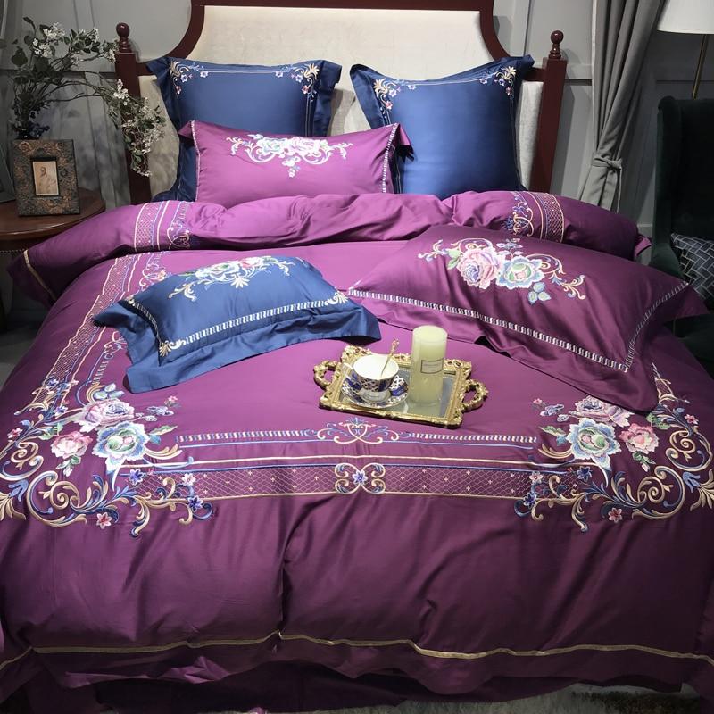 4/7 pz Viola Rosso Blu di Lusso Del Ricamo 80 s Cotone Egiziano Royal Set di Biancheria Da Letto Copripiumino lenzuolo biancheria da letto Federe-in Completi letto da Casa e giardino su  Gruppo 2