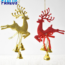 1pcs/Bag Red Christmas Elk Plastic Pendant Decorations For Home Tree Hanging Ornament Charm Happy New Year Xmas Decor