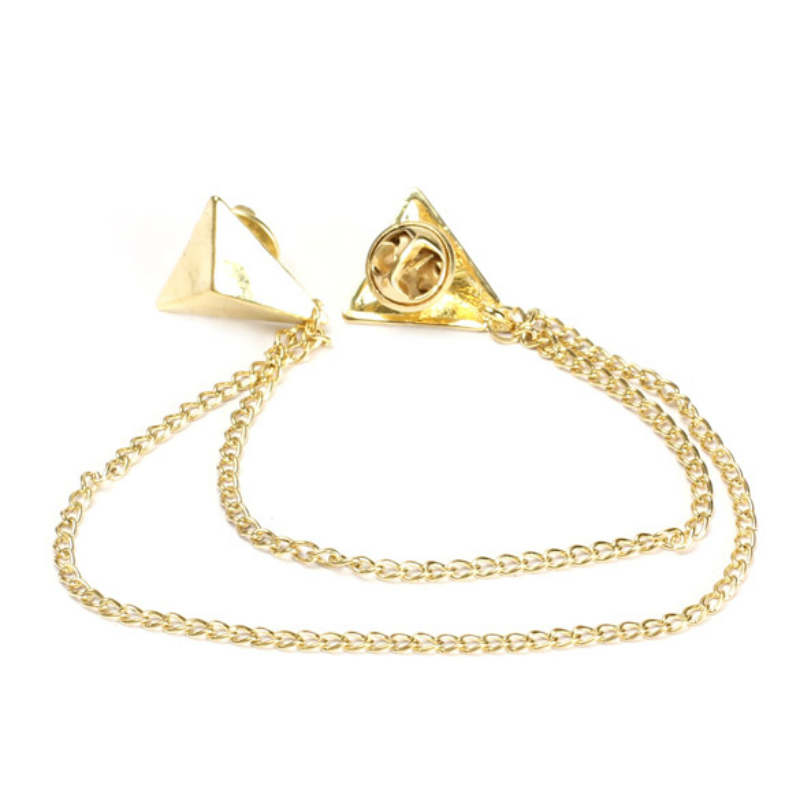 Spike Stud Triangle Blouse Shirts Collar Clip Neck Tip Brooch Pin Chain Punk 1pc