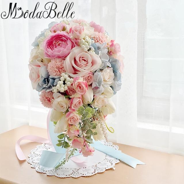 2017 Pink Blue Purple Waterfall Brooch Bouquet Bridal Flowers Bouquet Artificial Wedding Bouquets For Brides Bouquet De Mariage