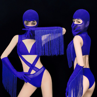 Sexy Bar Party Show Stage Wear Blue Tassels Mesh Perspective Dance Outfit Nightclub DJ Singer Dance Team Pole Dancing Costume