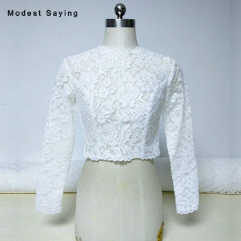 Elegant Ivory O Neck Long Sleeves Lace Wedding Boleros 2018 with Button Women Bridal Capes Jackets Ups Wraps Wedding Accessories