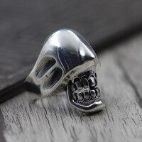 S925 Sterling Silver Skull Anello caratteristiche di personalità esagerata unico vecchio fare Tailandese gioielli in argento anello