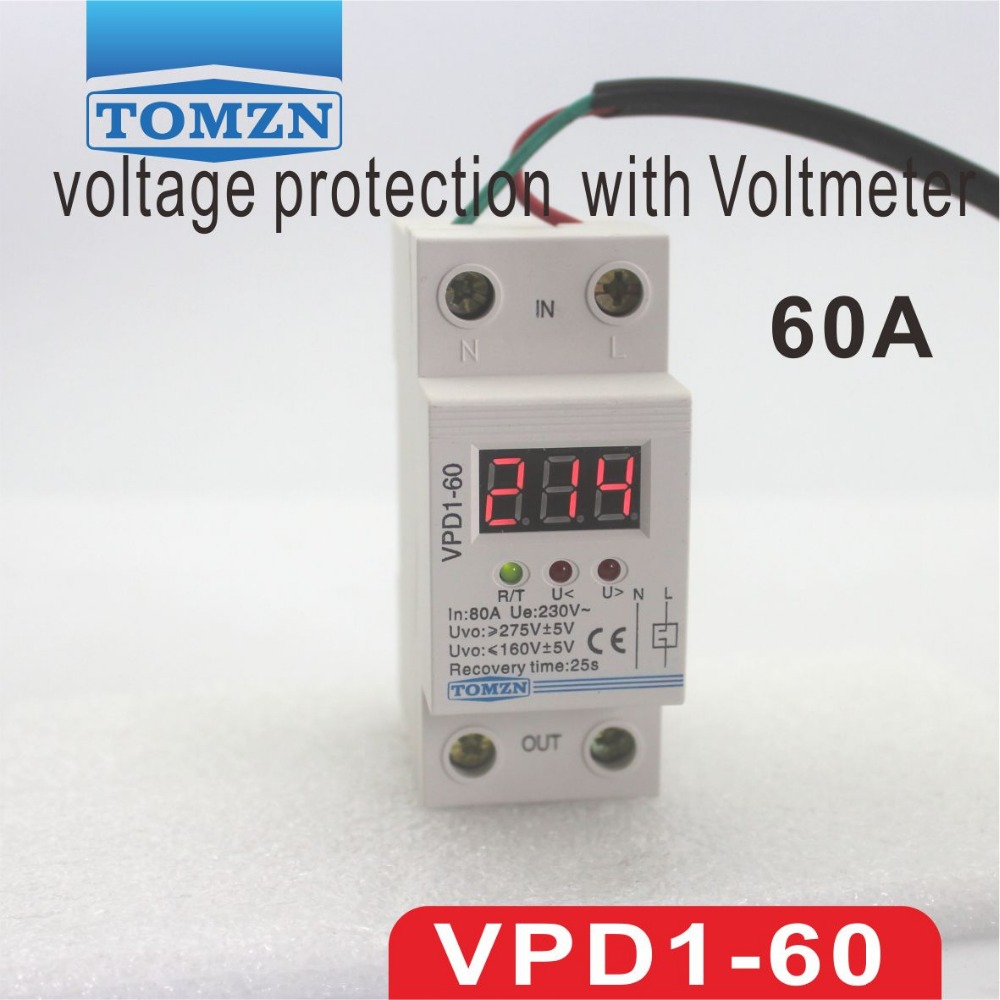 VPD1 60A 220V reconnect over voltage and under voltage protection protective device relay with Voltmeter voltage monitor