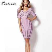 Ocstrade High Quality Women Fashion 2017 New Lilac Metal Pieces Vestidos Backless Bandage Party Dress Wholesale