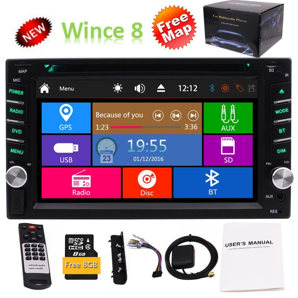 6.2 Double 2 Din DVD Player Stereo Radio GPS SWC USD SD TFT Colored Display Panel Beautiful UI Design Remote Control Map Card