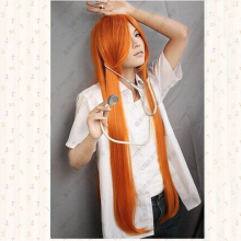 Bleach. Inoue Orihime Orange 100cm long straight cape anime costume cosplay wig +free cap
