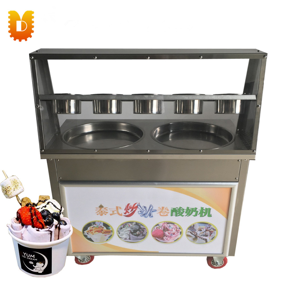 Double Pan(Round or Square) Fried Ice Cream Roll Machine/Ice Frying Machine double pressure ice frying machine double pan fried ice cream machine