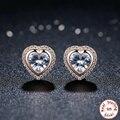 NOVOS Produtos 925 Esterlina Brincos de Prata Compatíveis Com pandora Jóias 925 Gold-placa de Prata de Cristal Brincos de Coração PARA As Mulheres