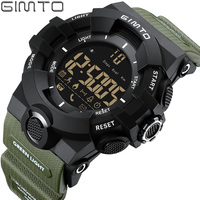 GIMTO Brand Men Sport Watch Black Green Military Army Watches Bluetooth Digital Smart Wristwatch Iphone Android
