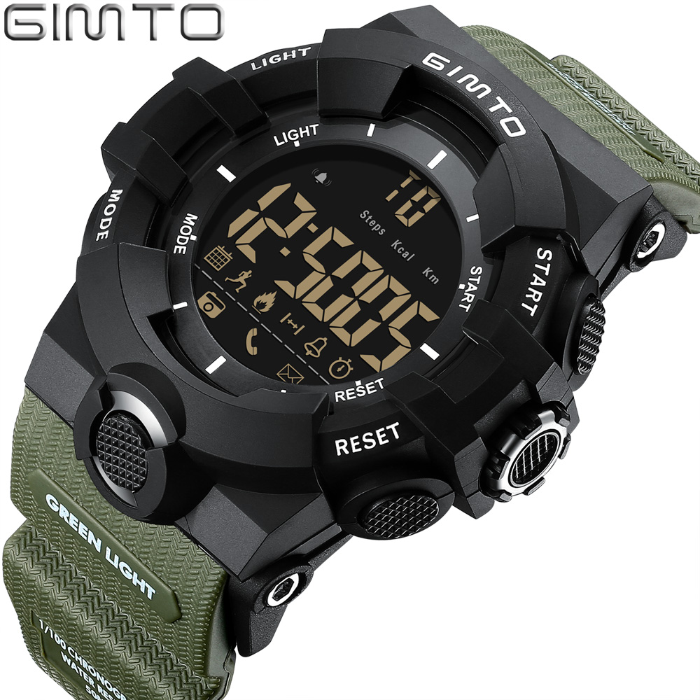 GIMTO Brand Men Sport Watch Black Green Military Army Watches Bluetooth Digital Smart Wristwatch Iphone Android Clock Outdoor U8