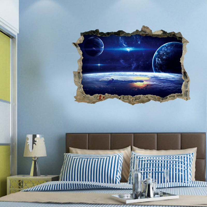 [Fundecor] Cartoon Universe Space Wall Sticker Broke 3d Removable Wall  Decals For Kids Room Children Bedroom Living Home Decor In Wall Stickers  From Home ...