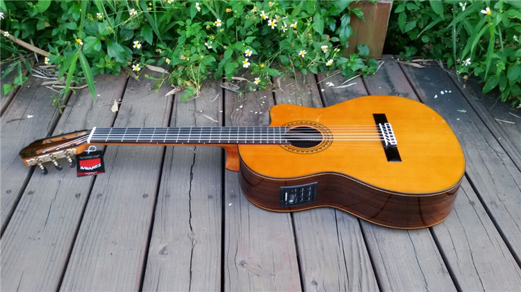 39 inch Cutaway Electric Spanish guitar,VENDIMIA Solid Cedar /Rosewood Acoustic Handmade guitarras+STRINGS,Classical guitar