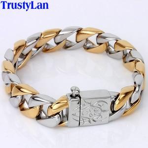 Image 1 - Dikke Ketting Solid Gold Kleur Rvs Mannen Armband Mannelijke Biker Skull Hand Sieraden Vriendschap Heren Armbanden & Bangles 2018