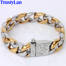 Thick Chain Solid Gold Color Stainless Steel Men Bracelet Male Biker Skull Hand Jewelry Friendship Mens Bracelets & Bangles 2018