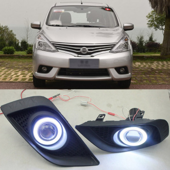 Ownsun COB Angel Eye Rings Projector Lens with 3000K Halogen Lamp Source Black Fog Lights Bumper Cover For Nissan Livina 2013