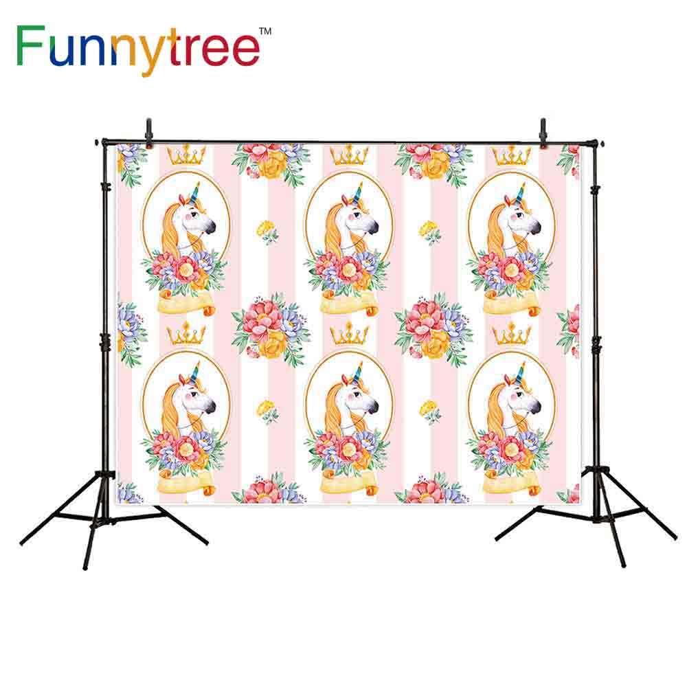 Funnytree photography backdrops unicorn repeat frame flowers stripe birthday crown photocall photography studio funds child