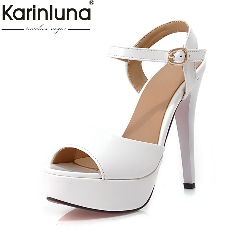 Karinluna New Top Quality Thin high-heeled Platform Ankle Strap Summer Sandal Shoes Women Sexy Black Red Shoes Woman цена