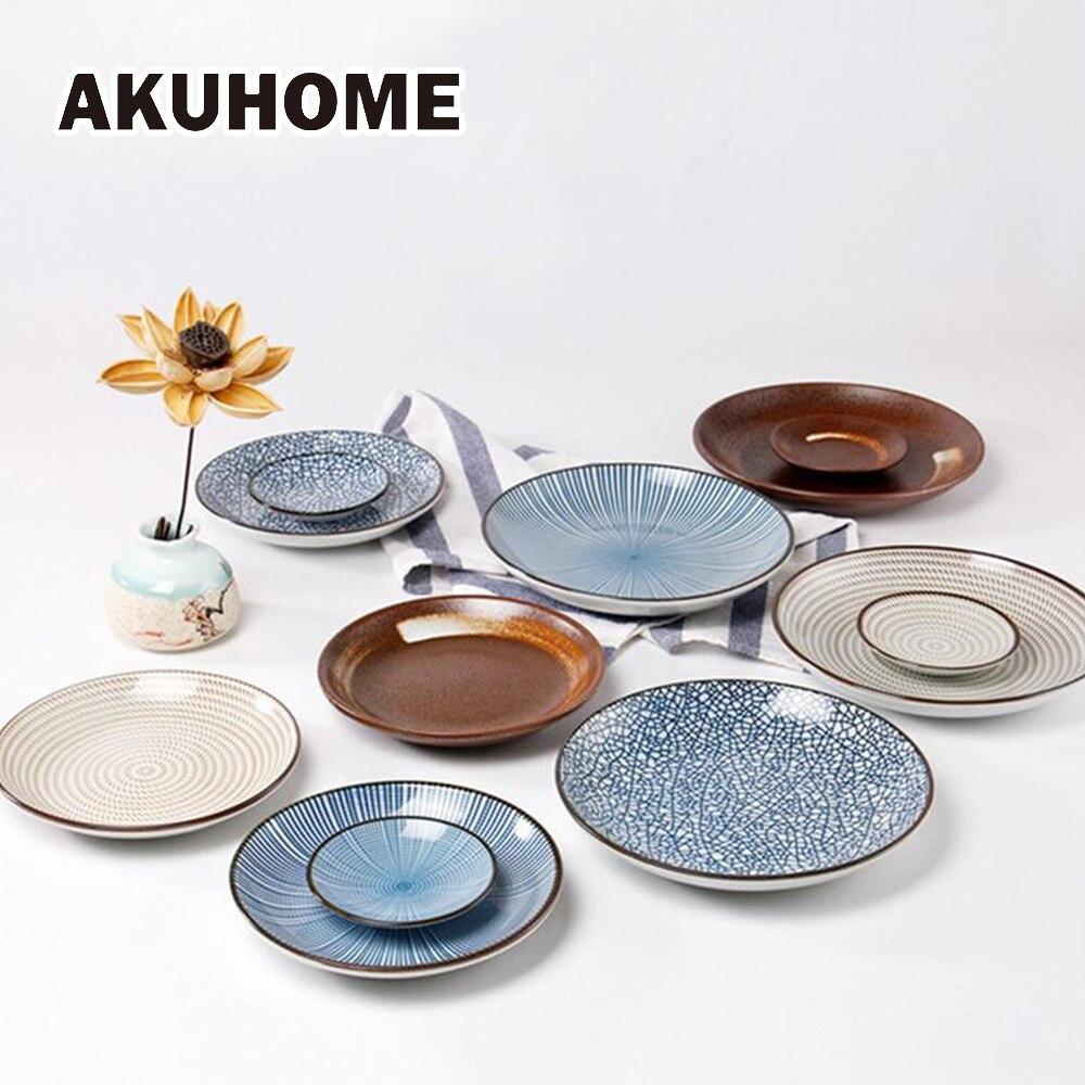 Service de couverts en céramique 7 pièces | Assiette de style japonais, bol et fourchette, vaisselle en céramique pour 2 personnes, dîner