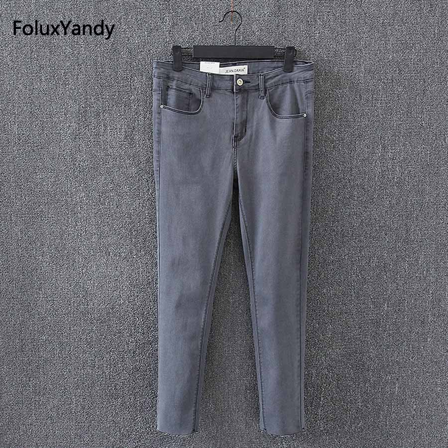 Slim Elastic Jeans Women New Casual Ankle-length Plus Size Jeans Pencil Pants Denim Trousers Gray KK2933 plus size pants the spring new jeans pants suspenders ladies denim trousers elastic braces bib overalls for women dungarees