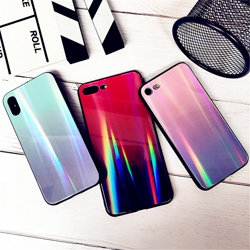 BONVAN For iPhone X 7 8 Plus Tempered Glass Back Case Gradient Color Laser Aurora Silicone Bumper For iPhone 7 6S 8 6 Plus Cover20
