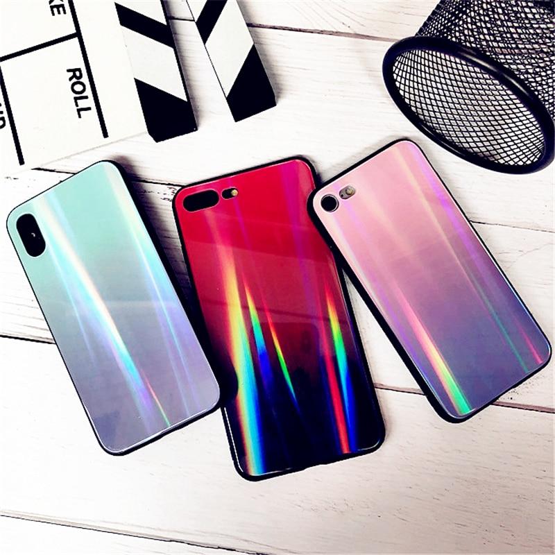 BONVAN For iPhone X 7 8 Plus Tempered Glass Back Case Gradient Color Laser Aurora Silicone Bumper For iPhone 7 6S 8 6 Plus Cover20