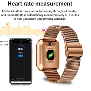 Image 5 - LIGE New Smart Bracelet IP67 Waterproof Fitness Tracker Heart Rate Monitor Pedometer gold plated Strap Smart Electronic Clock