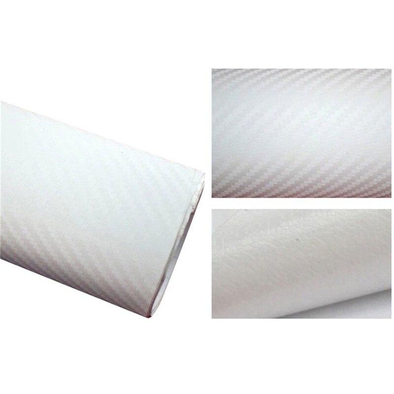 127cmx10/20 см 3D виниловая пленка из углеродного волокна для автомобиля, рулонная пленка, наклейка на машину, мотоцикл, наклейки для автомобиля, аксессуары для интерьера - Color Name: White