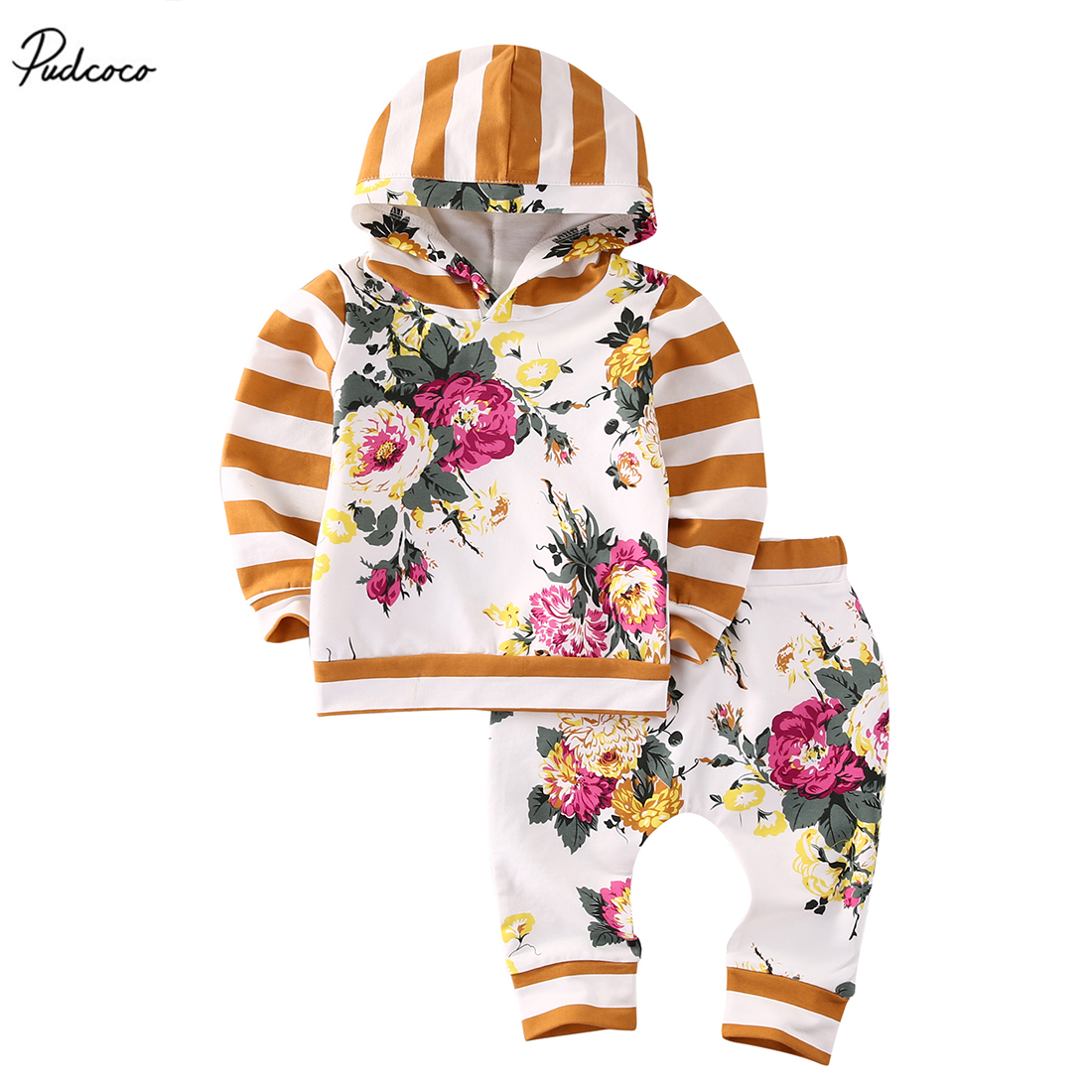 Pudcoco 2pcs Kids Baby Girls New 2017 Striped Long Sleeve Hooded Sweatshirt Tops Floral Long Pants Outfits Set