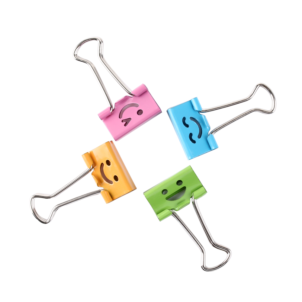 5 Pcs 19/25mm Smile Face Metal Binder Clips For Home Office School File Paper Organizer Stationery Office Supplies Random Color