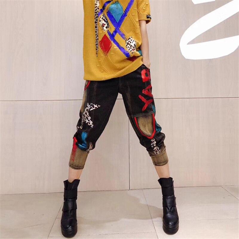 H00411 Femelle Photo Jeans Printemps Pieds Petit Points Harlan 2019 Grande Pantalon Denim Harem Hip Coton Hop Nouvelle Mode Lâche Bombe Color Taille Neuf IS1FqR