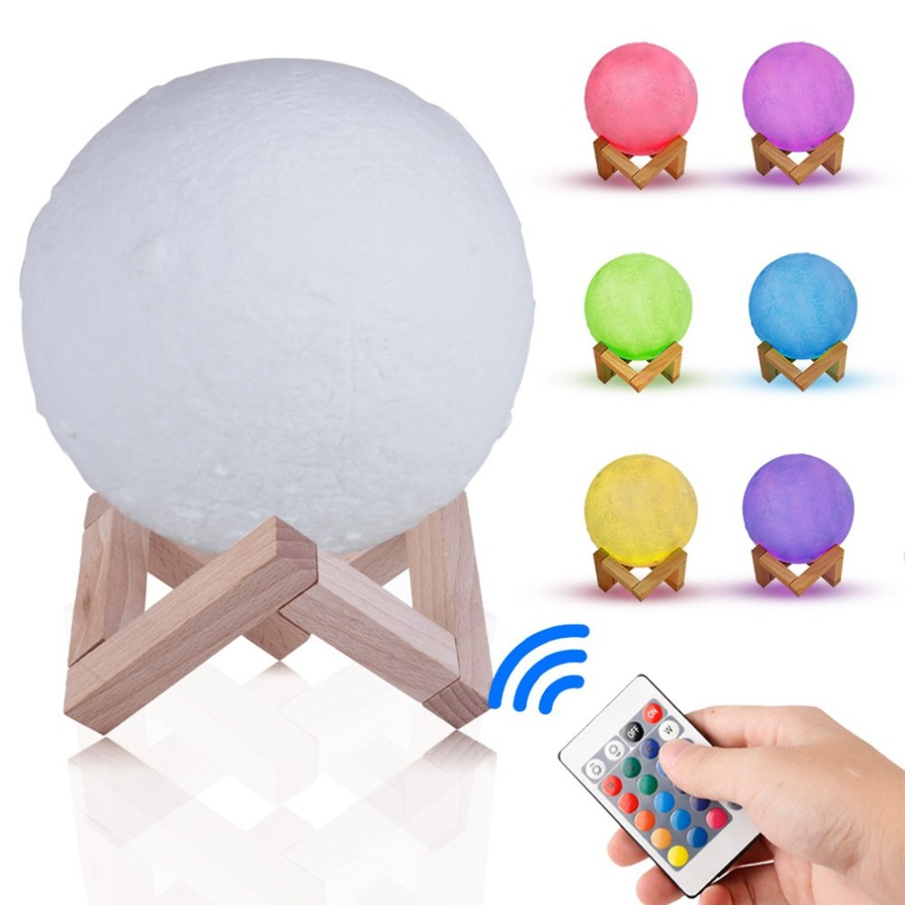 Colorful 3D Print Moon LED Night Light Remote Control Rechargeable Touch Switch Bedroom Desk Night Lamp Home Decor Creative Gift novelty 3d minions night light led table lamp touch desk lighting colorful for child baby gift birthday party bedroom home decor